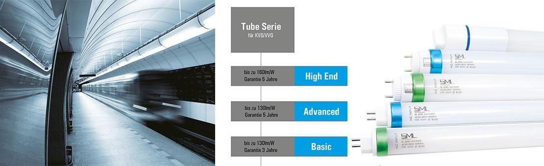 SML LED Röhren mit 160 Lumen pro Watt und 5 Jahren Garantie